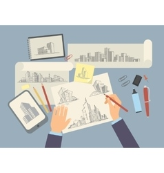 Architect designer working desk with architectural vector image