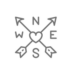 arrows and heart tattoo sketch line icon vector image