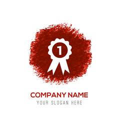 award icon - red watercolor circle splash vector image
