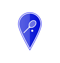 Blue map pointer with tennis racket and ball vector