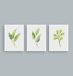 botanical wall art watercolor painting background vector image