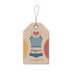brown cardboard price tag with blue lingerie vector image