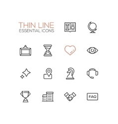 Business - Thin Single Line Icons Set vector