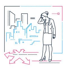 Businesswoman at the crossroads - line design vector