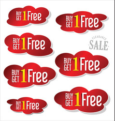 buy 1 get 1 free sticker red collection 2 vector image