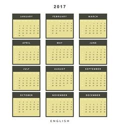 Calendar 2017 year simple style vector image