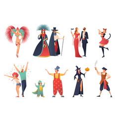 Carnival party icons set vector