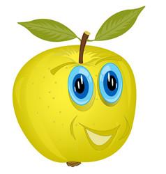 Cartoon alive apple vector
