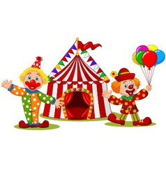 Cartoon happy clown in front of circus tent vector
