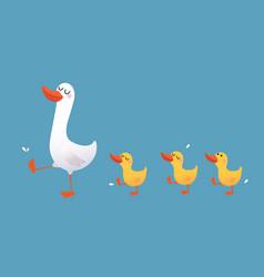 Cartoon mother duck and ducklings vector