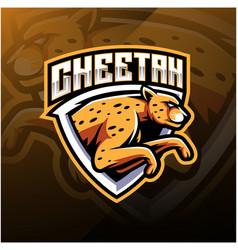 cheetah sport mascot logo design vector image