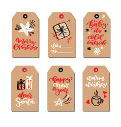 Christmas modern gift tags set with hand drawn vector