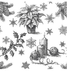christmas sketch pattern monochrome vector image