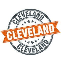Cleveland red round grunge vintage ribbon stamp vector