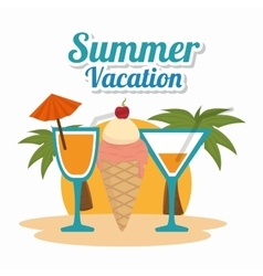 Cocktails summer vacations icon vector