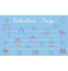 Collection of cute greeting card valentine vector