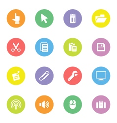 Colorful simple flat icon set 3 on circle vector