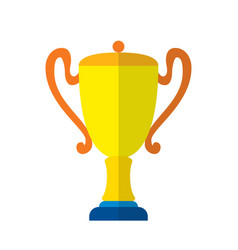 cool flat design gold cup award icon vector image