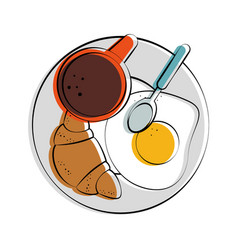 croissant fried egg and coffee pastry food related vector image