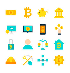 cryptocurrency bitcoin objects vector image