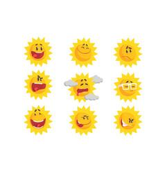 Cute cartoon sun emojis emotional face set vector