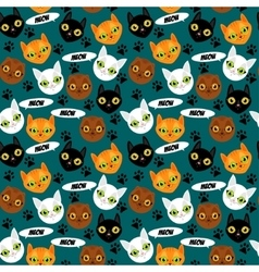 Cute cats colorful seamless pattern background vector image