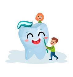 cute little boy and girl cleaning giant smiling vector image