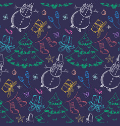 dark christmas pattern with bright outline doodles vector image