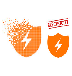 dissipated dot electric shield icon and distress vector image