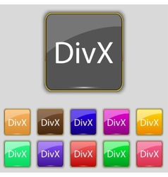 DivX video format sign icon symbol Set of colored vector image