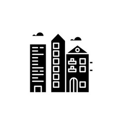 downtown city black icon sign on isolated vector image