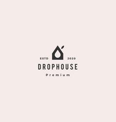 drop eco house logo hipster retro vintage icon vector image