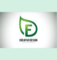 E leaf logo letter design with green leaf outline vector