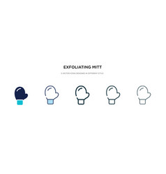 Exfoliating mitt icon in different style two vector