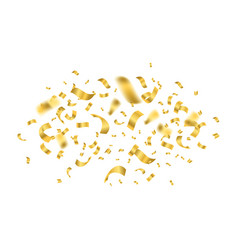falling shiny golden confetti round on a white vector image