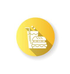 fast food yellow flat design long shadow glyph vector image