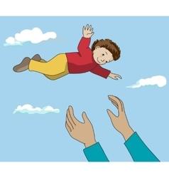Father throw up happy kid in air vector