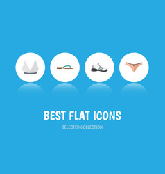 Flat icon clothes set of beach sandal sneakers vector