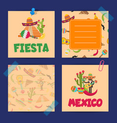 Flat mexico note cards of set vector