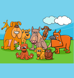 funny cartoon dog characters group vector image