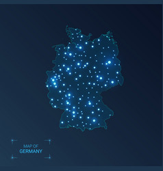 germany map with cities luminous dots - neon vector image
