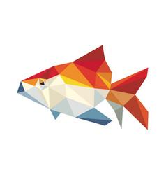 Golden fish low polygon vector