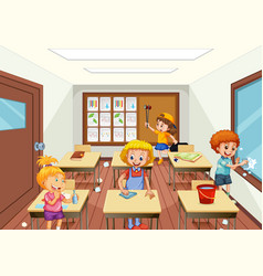 group of people cleaning classroom vector image