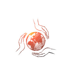 hand drawn globe between three caring human hands vector image