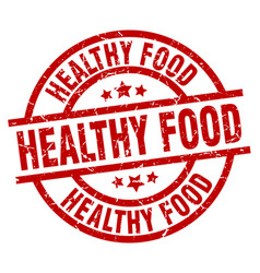 healthy food round red grunge stamp vector image