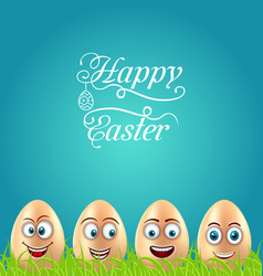 Humor easter card with crazy eggs on grass meadow vector