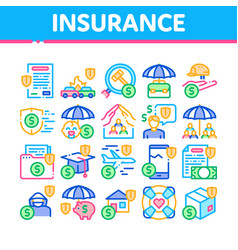 Insurance all-purpose collection icons set vector