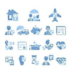 Insurance Icons in Handdrawn Style vector image