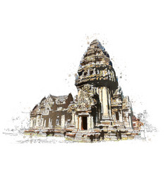 Khmer stone sanctuary in watercolor art of vector