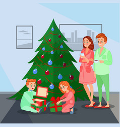 Kids opens christmas presents happy family vector
